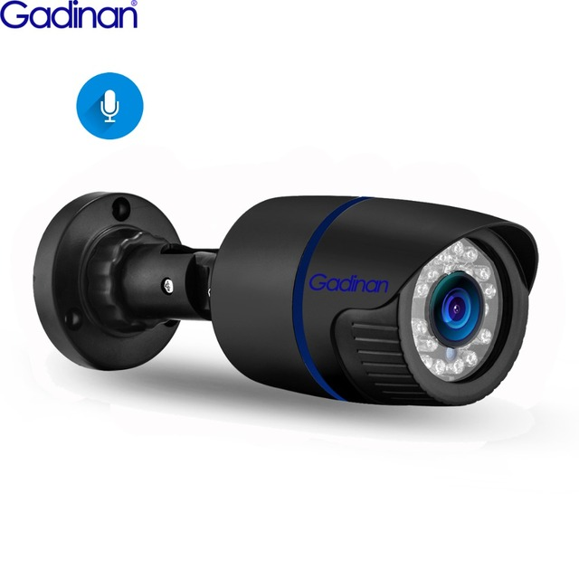 Gadinan 5MP 2592X1944P IP 카메라 오디오 기록 야외 방수 3MP 1080P HD 보안 H.265 POE 유선 감시 카메라