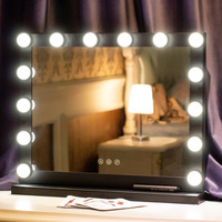Голливуд светодио дный лампа зеркало принцесса зеркало красота зеркало туалетный свет 3 цвета Макияж Зеркало Регулируемый сенсорный экран
