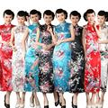 Vintage Women Chinese Long Cheongsam Dress Silk Summer Sleeveless Sexy Cheongsam Qipao Qi Pao Printing