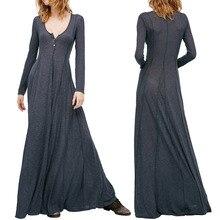 V-Slim Long-Sleeve Long Sleeve Dress