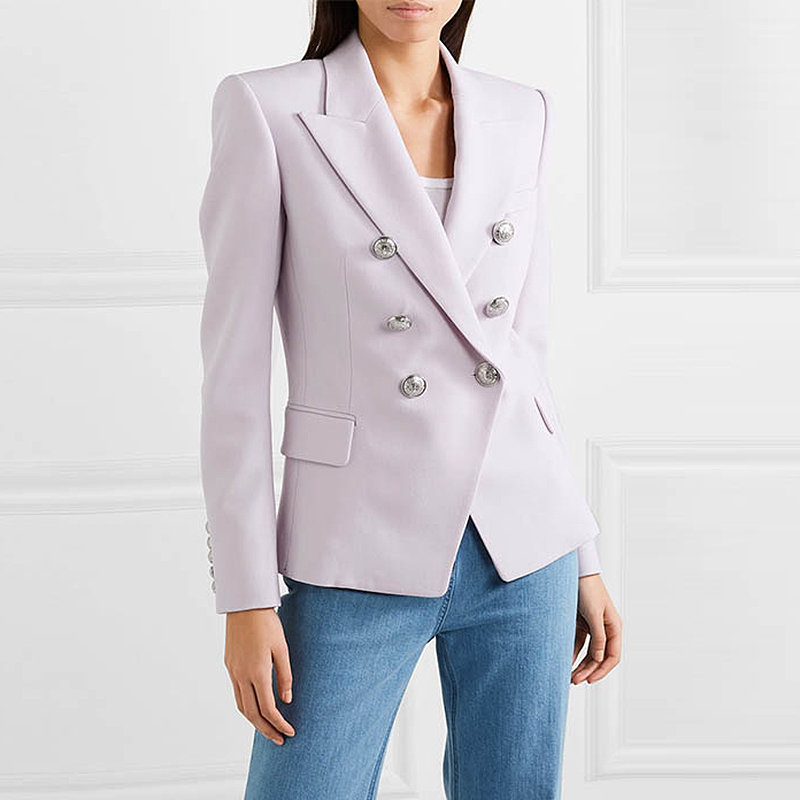 TOP QUALITY Newest Fashion 2019 Baroque Designer Blazer Women's Classic Double Breasted Metal Lion Buttons Blazer Jacket