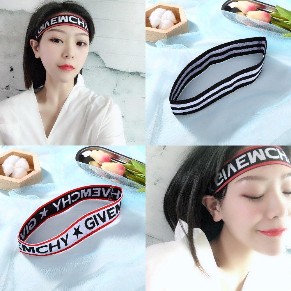 Unisex Fashion Elastic Sports Headband for Women Men Hairband Embroidery Letters Hip Hop Headwear Yoga Fitness Hair Accessories