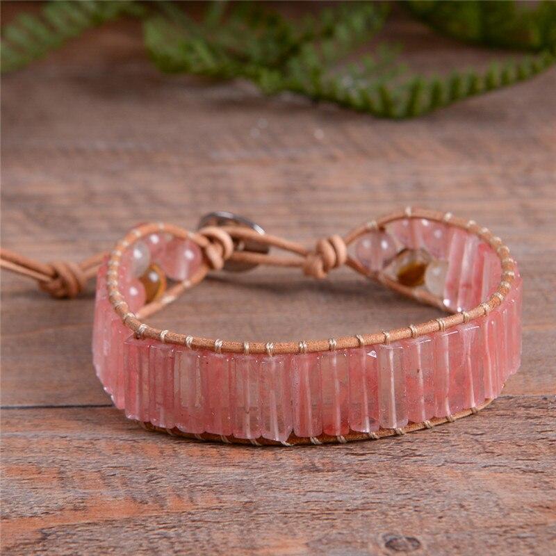 Las mujeres Boho pulsera sandía de cuero Vintage pulsera de piedra Semi preciosa cuentas brazalete pulsera regalo de niña Dropship
