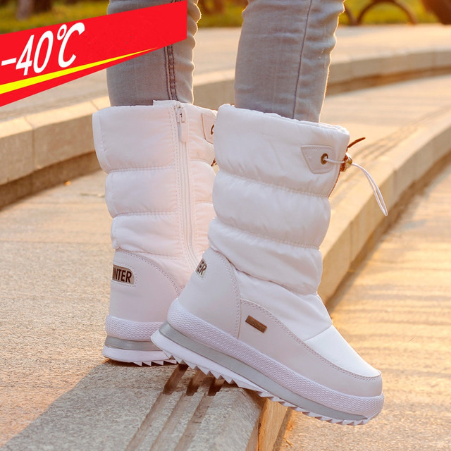 Ollas Winter Shoes Women 2017 Russia Winter Waterproof Boots Woman Snow Boots Zip Platform Min-calf Boot D2347