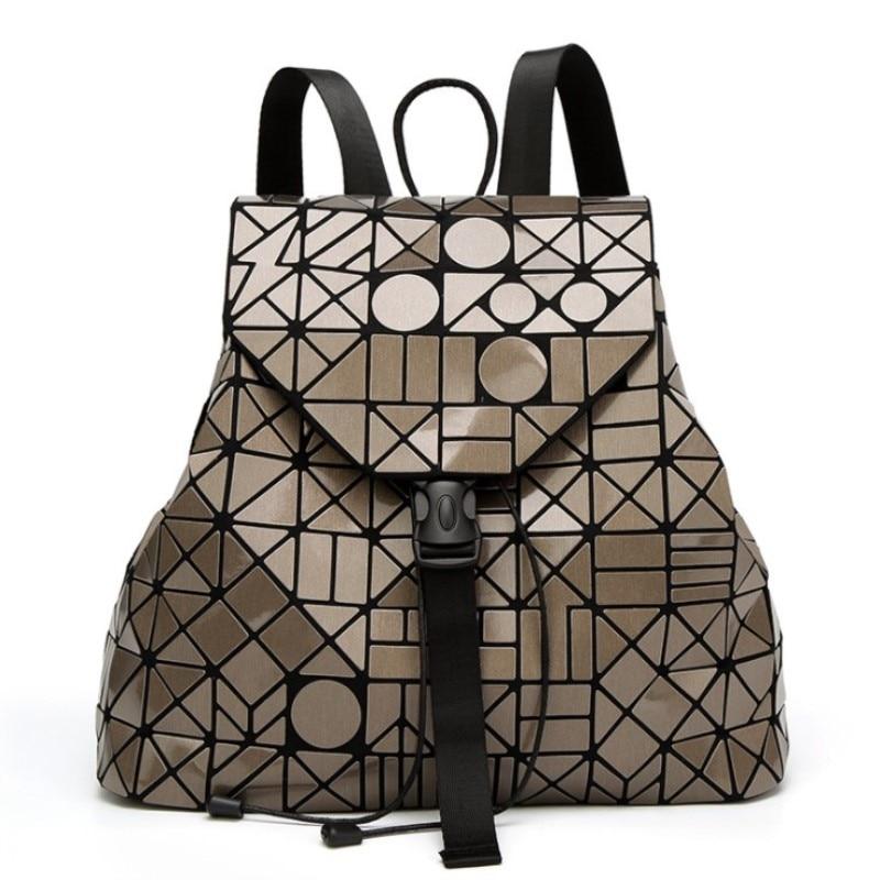 2018 New Laser Matte Geometric Women Backpack Bags Women Fashion School Bag Folding Girl Shoulder Bag Daily Backpacks