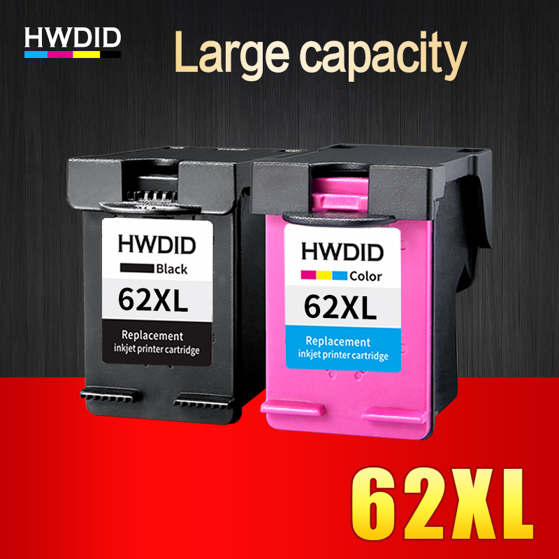 HWDID 62XL Refilled Ink Cartridge Replacement for HP 62 XL cartridge for HP Envy 5640 OfficeJet 200 5540 5740 5542 7640 printers 2pcs set 60xl refilled ink cartridge replacement for hp 60 xl for deskjet d2530 d2545 f2430 f4224 f4440 f4480 envy c4650 c4680