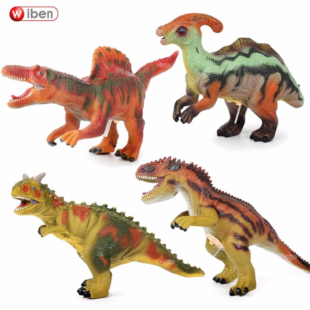 Jurassic Big Dinosaur toy Carnotaurus Parasaurolophus Allosaurus Spinosaurus Soft Plastic Toy Figures Animal Model Christmas Gif 32cm jurassic animal model biology world park spinosaurus dinosaur model dinosaur plastic toy decorate gifts for children