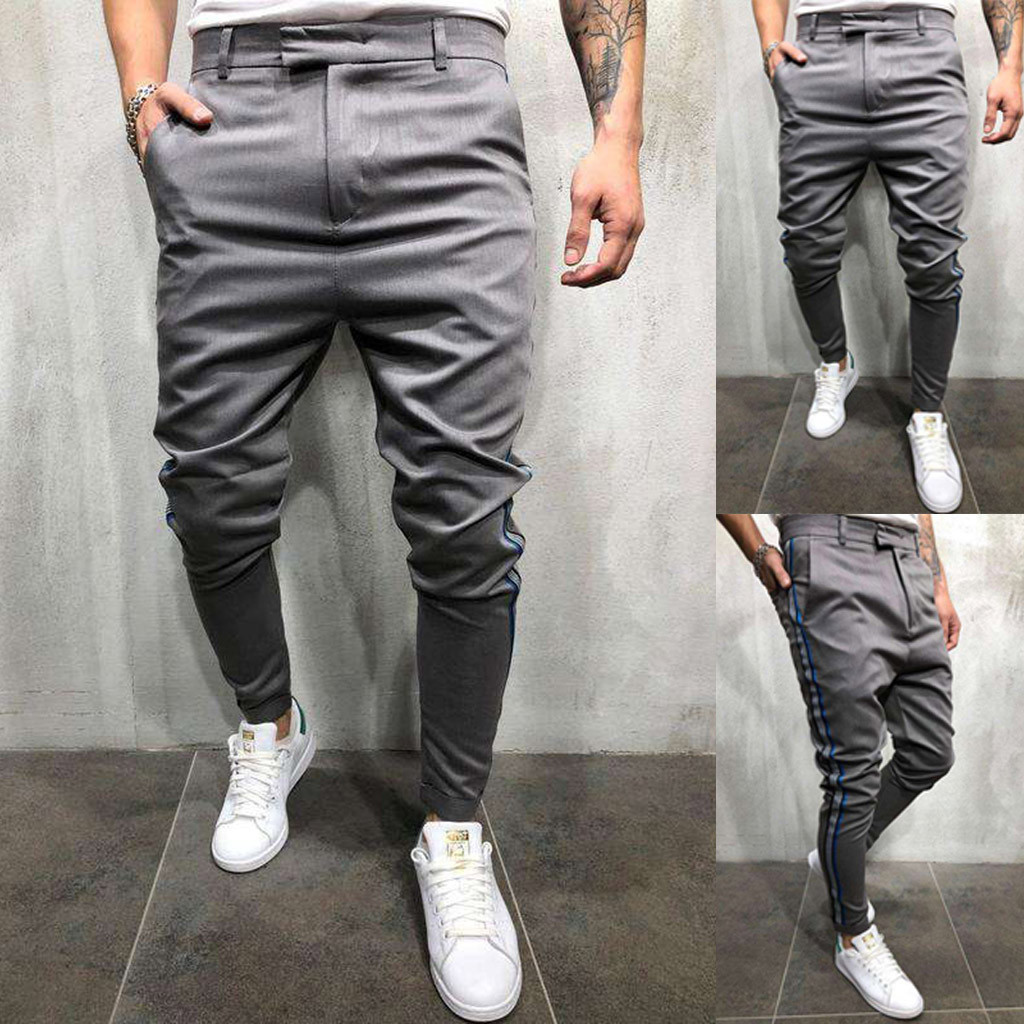 2019 Fashion men's trousers personality solid color casual sports pants pocket zipper beam feet slim trousers 7.12