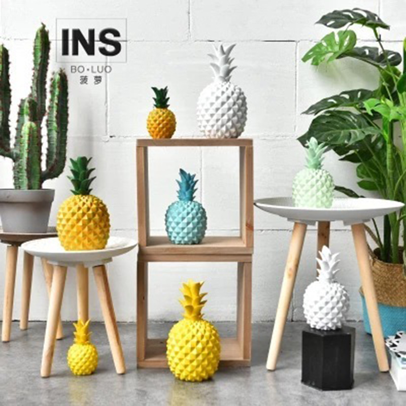 1piece:  Nordic INS Style Resin Pineapple Model Ornament Home Decoration Living Room Restaurant Wine Cabinet Decorative Figurines 1piece - Martin's & Co