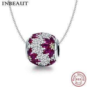 Image 5 - INBEAUT gerçek 925 ayar gümüş yuvarlak zirkon taşlar şarap kırmızı düşen çiçek kübik zirkon boncuk fit marka bilezik kadınlar için