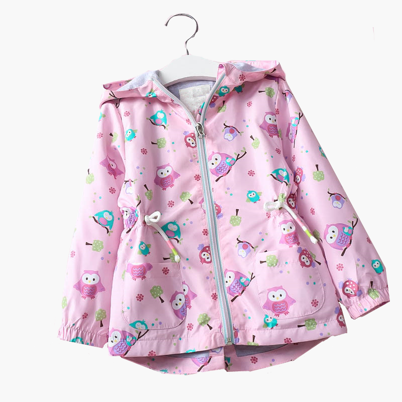 Baby Cartoon Owl Long-Jackets for Girls Windproof Clothes Coats 2018 Kids Fashion Autumn Hooded Sunscreen Windbreaker Outwear