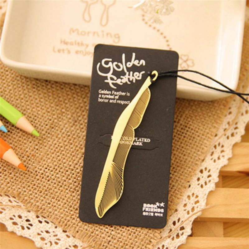 Creative Feather Shape Metal Bookmarks For Books Paper Clip For Book Korean Stationery Office Supplies Cute Book Mark