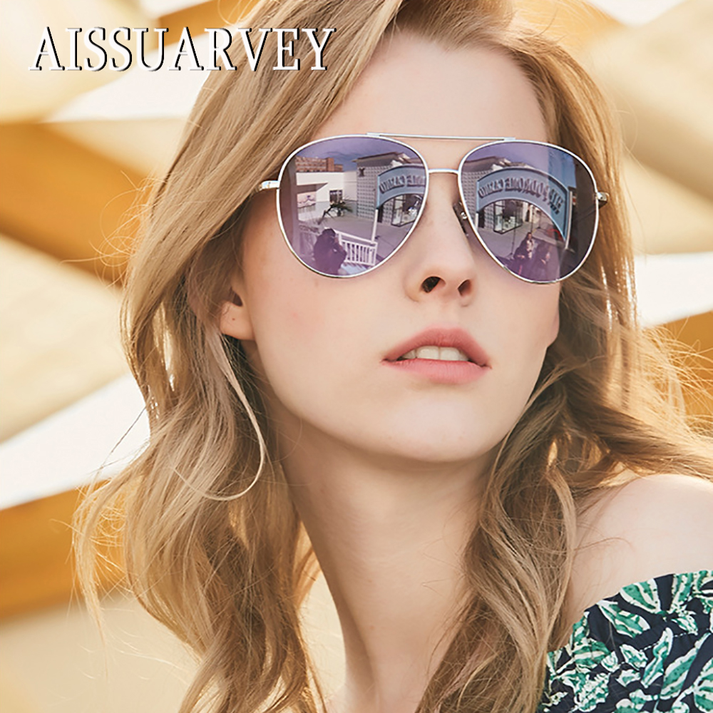2018 Oversize Aviator Metal Fashion Polarized Sunglasses for Woman Top Quality Lady Brand Designer Goggles Driving Sun Glasses bertha high guality fashion aviator hd polarized sunglasses men driving fishing glasses brand designer for men 8002