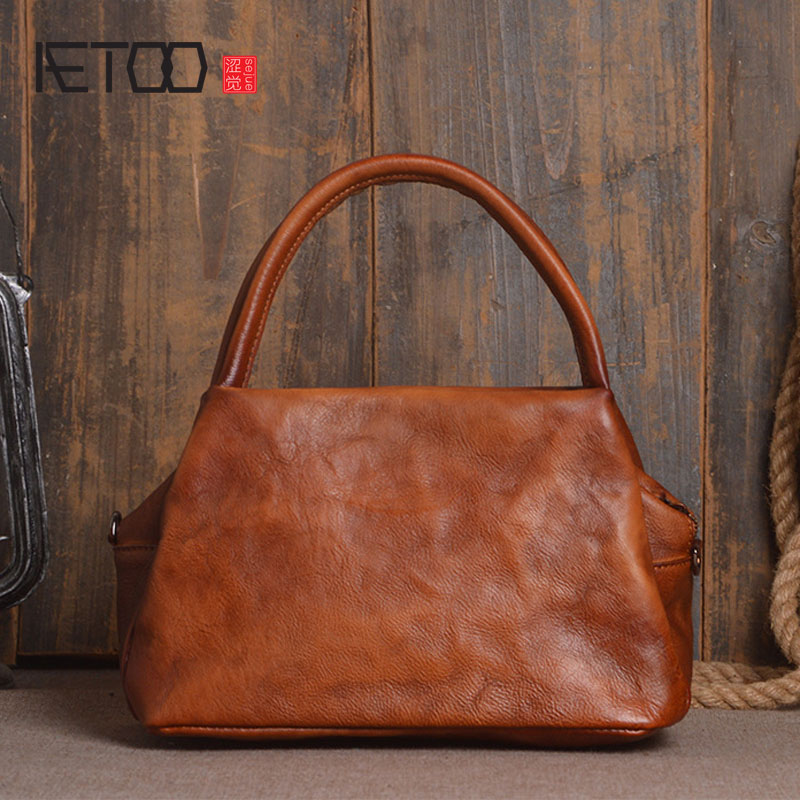 AETOO Leather goods new head vegetables tanned leather ladies handbags hand Sassafras color single shoulder diagonal package ipa все цены