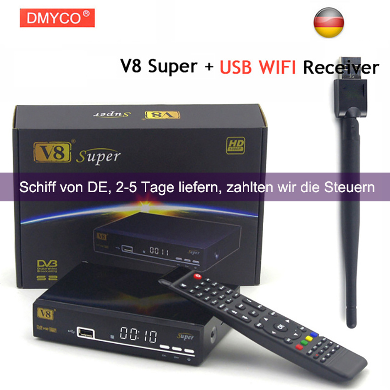 Original V8 Super DVB-S2 Satellite TV Receiver With USB Wifi Support PowerVu Biss Key clines Newcamd Youtube Youporn Set Top Box dvb s s2 satellite receiver freesat v8 super 150m usb wifi universal ku band single lnb support iptv cccam powervu biss dre