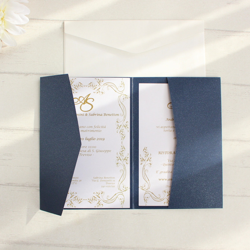 Blank envelopes cards invitations navy blue pocket tri folded invitation set multi colors offer customized service