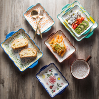 European style Steak Plate Ceramic Creative Hand painted Dishes Set Suit Food Container Dinner Plates Rectangular Flat Plate
