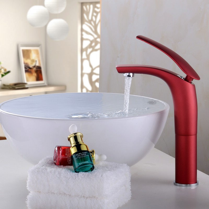 Bathroom Basin Faucet Solid Brass Sink Mixer Tap Hot and Cold Waterfall Basin Faucet Unique Design Single Handle 5 Color FaucetBathroom Basin Faucet Solid Brass Sink Mixer Tap Hot and Cold Waterfall Basin Faucet Unique Design Single Handle 5 Color Faucet