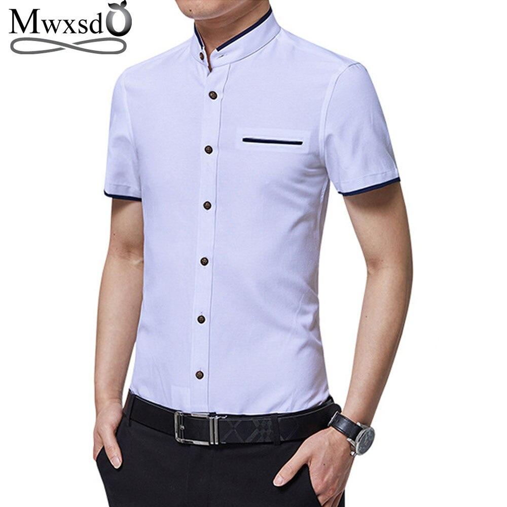 Mwxsd High Quality Mens Cotton Dress Shirt Short Sleeve Male