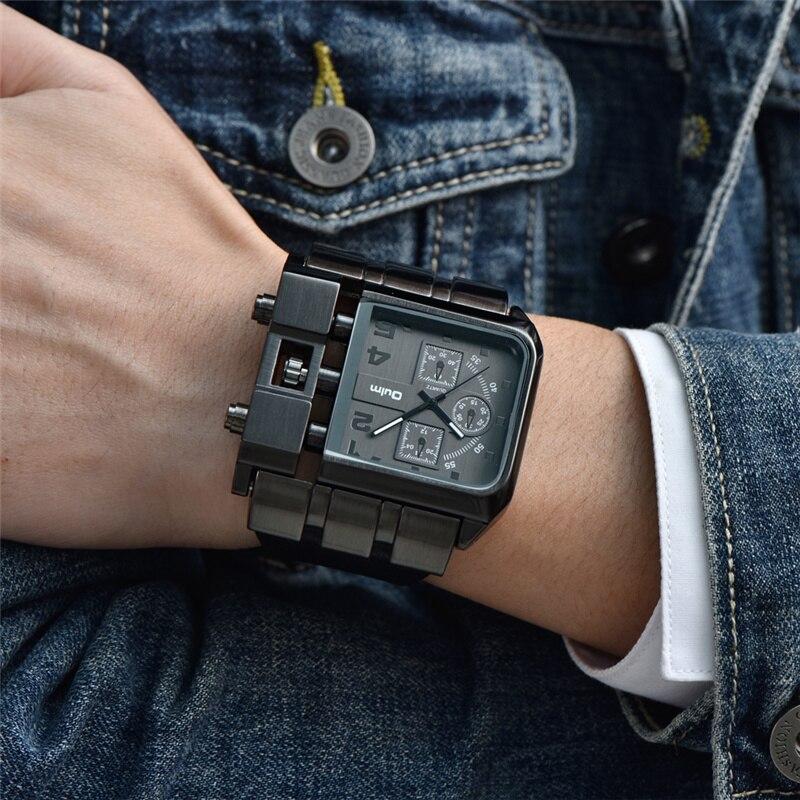 cefc98babcf OULM 3364 Marca Original Retângulo relógio de Pulso Grande Dial Pulseira de Couro  Relógio de Quartzo Dos Homens Originais do Projeto em Relógios de quartzo  ...