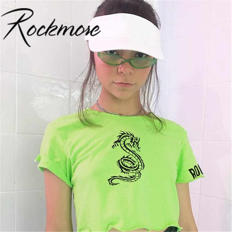 Rockmore venda quente verde algodão camiseta feminina manga curta moda casual dragão impresso tshirt feminino mulher topo t meninas verão