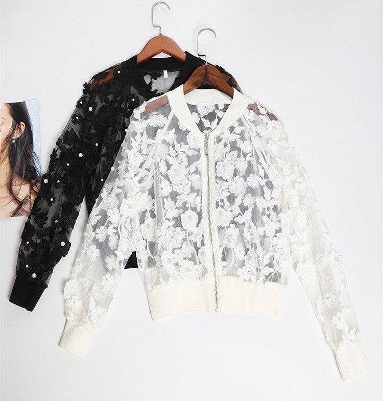Tout nouveau manteau court en maille pour femmes 2019 printemps été pistes broderie florale vestes femmes G104