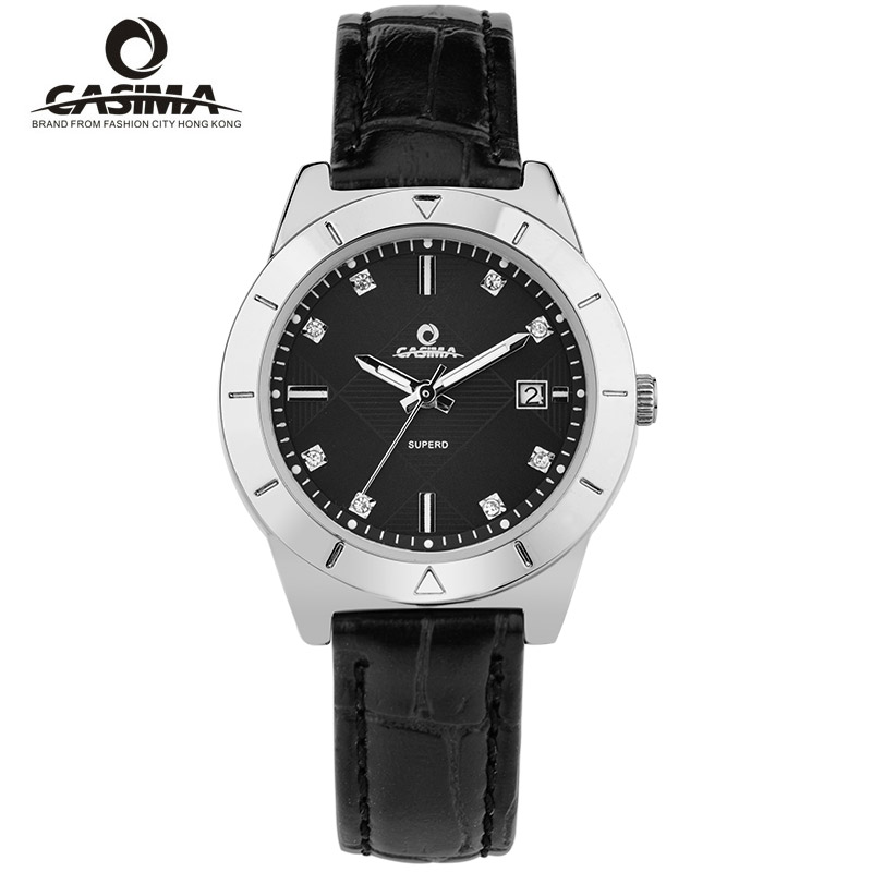 CASIMA Brand Women Watches Ladies Classic Grace Dress Leather Quartz Wrist Watch Waterproof Calendar Clock Saat Relogio Feminino casima women watches waterproof fashion ladies leather rhinestone gold quartz wrist watch clock woman 2018 saat relogio feminino