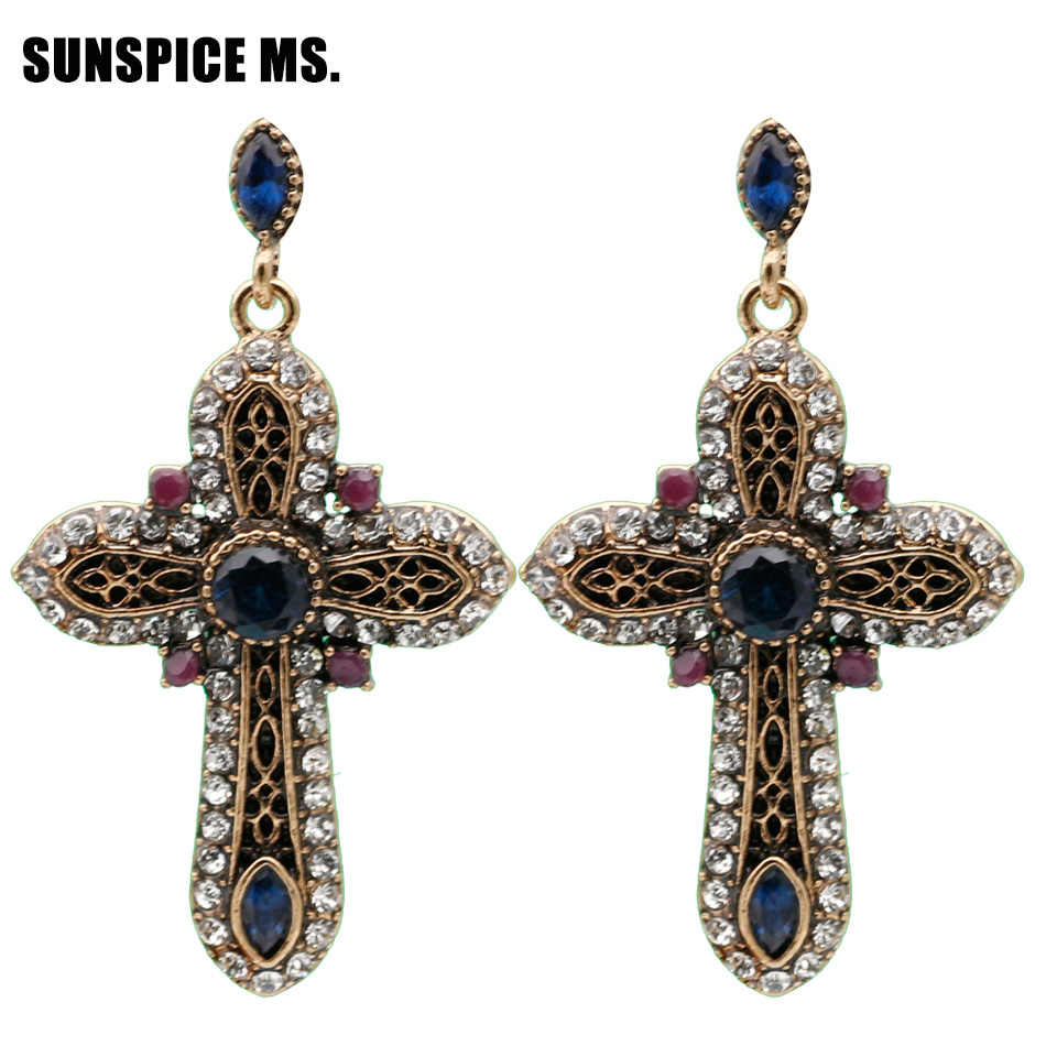 Elegent Vintage Turkish Women Cross Long Dangle Earrings Antique Gold Color Resin Rhinestone Multicolor Ethnic Religion Jewelry