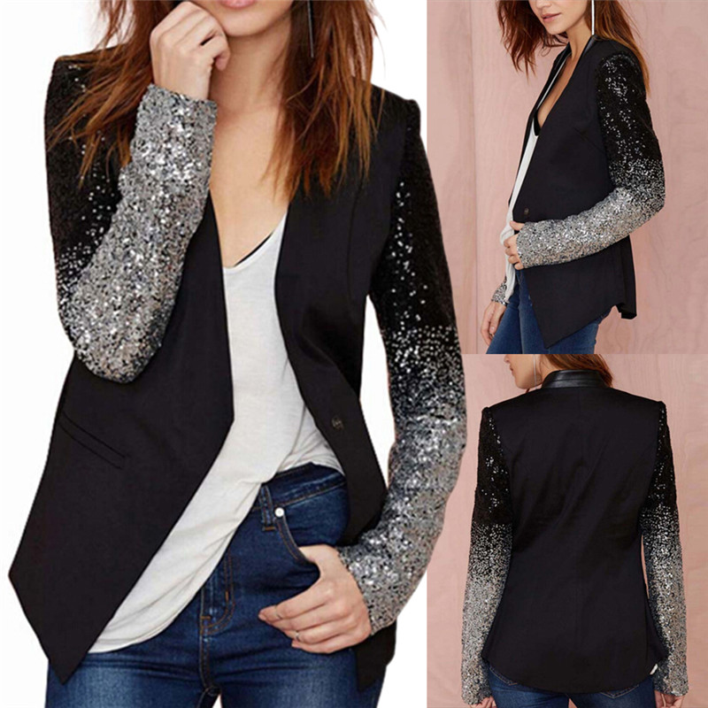 Women Thin Jacket Coat 2018 Spring Autumn Long Sleeve Lapel Fashion Silver Black Sequin Elegant Slim Work Blazers Suit Feminino