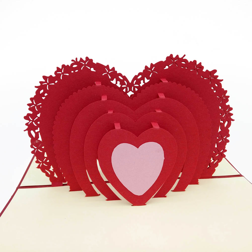 3D Lovers Couple Romantic Love Heart Gift Greeting Card Pop Up Paper Cards Valentine Day Postcards Hot Sale