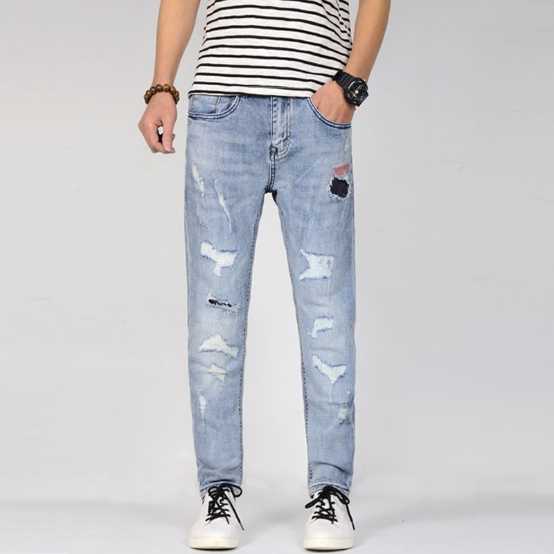 2019 Spring New Men's Elastic Cotton Stretch Ripped Jeans Pants Loose Fit Denim Trousers Men's Brand Fashion Wear