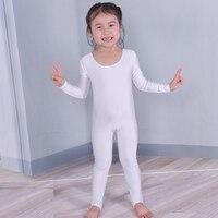 Child Tight Long Sleeve Unitards Gymnastics Leotards Girls Bodysuit Kids Scoop Neck Spandex Lycra Dance Jumpsuit
