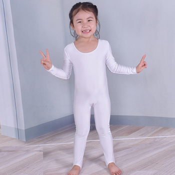 Child Tight Long Sleeve Full body Unitards Gymnastics Leotards Bodysuit Kids Scoop Neck Spandex Lycra Dance Jumpsuit Costume