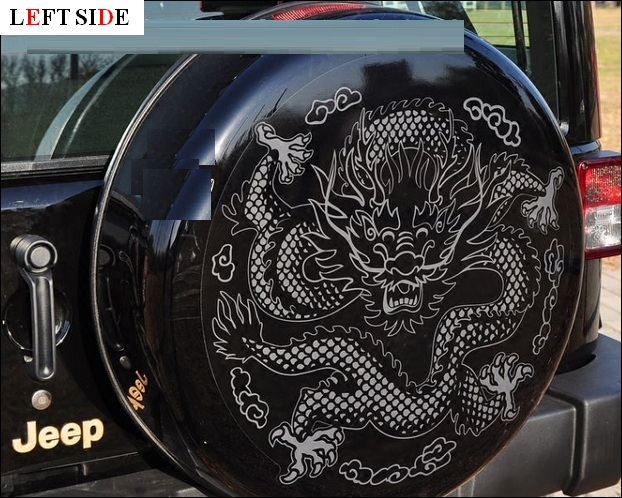 Left side 3d car sticker customizable dragon totem spare wheel car styling styling exclusive custom models car modification in car stickers from