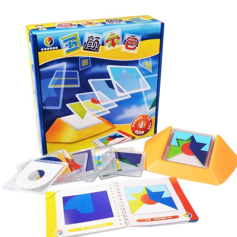Quebra-cabeças tangram com código colorido, brinquedo de jogo de quebra-cabeça infantil com lógica, rastreamento spatial, habilidades, brinquedo, 100