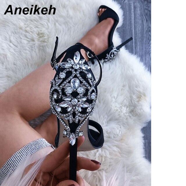 Aneikeh de tacón Sexy dama cristal delgada tacones Sandalias Mujer tobillo Correa zapatos de vestido de boda de tamaño 35-42 negro