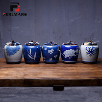 Jingdezhen Vintage Hand Painted Blue and White Porcelain Tea Can Home Pu'er Ceramic Under Glazed Damp proof Sealed Jar Cover