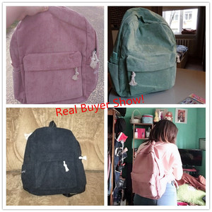 Image 4 - Miyahouse Preppy Style Soft Fabric Backpack Female Corduroy Design School Backpack For Teenage Girls Striped Backpack Women