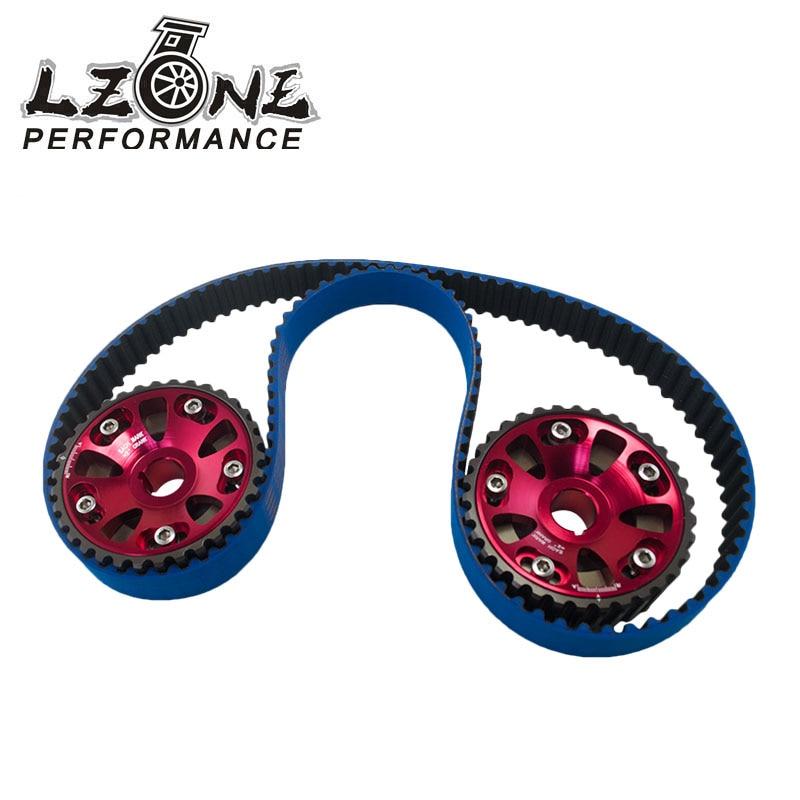 LZONE - HNBR Racing Timing Belt Blue+Aluminum Cam Gear Red FOR B16A 99-00 Civic Si 94-97 Del Sol VTEC DOHC JR-TB1001B+6532R vr racing hnbr racing timing belt