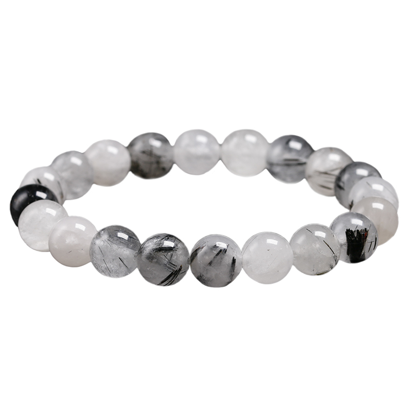 Natural Black Tourmalinated Quartz Healing Bracelet Women Men Wrist Mala Beads Protection Emotional Balance Anxiety Relief Gift
