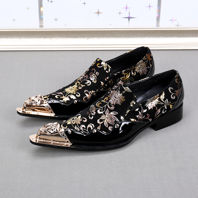 Choudory Black Mens Loafers Leather Metallic Toe Mens Glitter Shoes Gold  Floral Print Men Wedding Shoes e101b9376e49