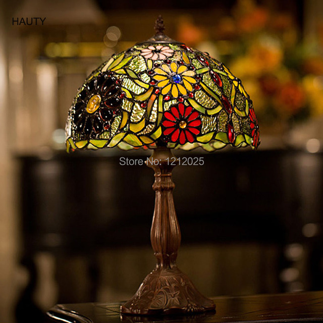 Antique Tiffany Style Floral Table Lamp Bedroom Lights Indoor Home