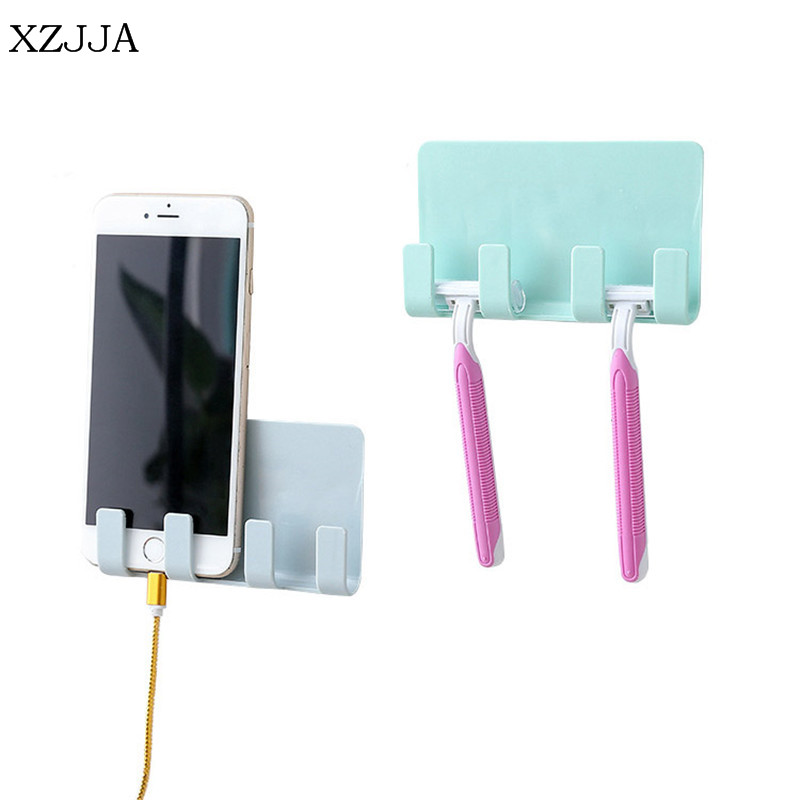 XZJJA High Quality Wall Mounted Type Storage Racks Bedside Phone Charging Bracket Repeat Paste Small Items Collection Rack