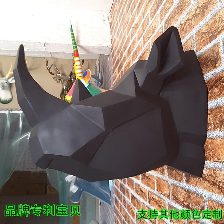 Arrival A Face Matte Black Rhino Head Wall Mural Home Furnishing Bar Ktv 1st Background Decoration buddha statue sculpture buda