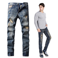 DSEL Marca biker jeans delgado recto jeans rasgados para los hombres el tamaño 29 a 40 para hombre pantalones de mezclilla China original de la marca de jeans para hombre