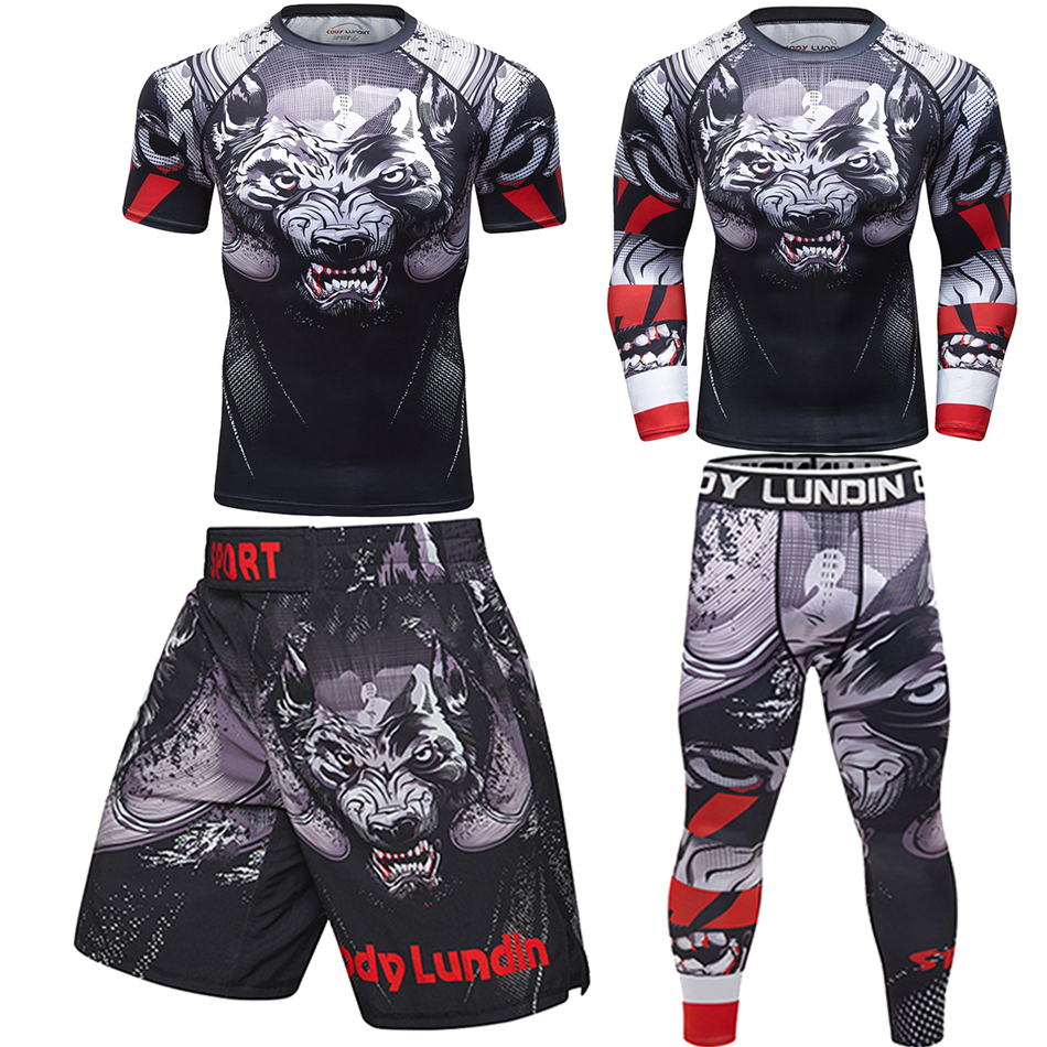 Mma T-shirts+Pants Men Boxing Muay Thai Shorts Rashguard Jiu Jitsu Mma Kickboxing Sets Jerseys Fitness Sportsuits Bjj Gym Boxeo