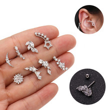 цена на TTLIFE 1PC Silver Color Curved Wave Bar Cz Moon Star Cartilage Stud Helix Cartilage Piercing Jewelry Tragus Rook Conch Earring