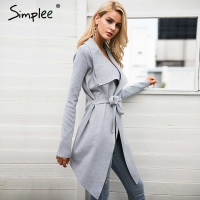 Simplee Sash Elastic Cardigan Winter Sweater Women Jumper Knitted Cardigan Female Coat Soft Casual Sweater Pull
