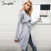 Simplee Sash Elastic Cardigan Winter Sweater Women Jumper Knitted Cardigan Female Coat Soft Casual Sweater Pull