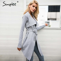 Simplee Sash elastic cardigan winter sweater women jumper Knitted cardigan female coat Soft casual sweater pull outerwear